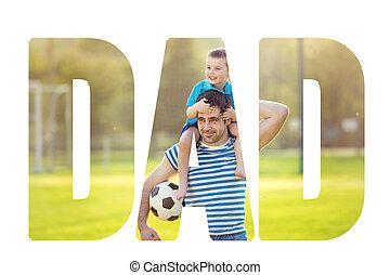 sien, épaules., pères, père, fils, porter, concept., jour