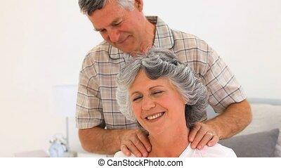 sien, épouse, donner, homme, masage