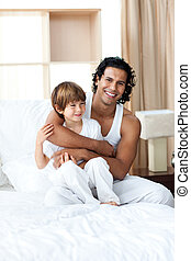 sien, étreindre, sourire, père, fils