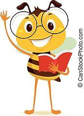 sien, étudiant, abeille, quoique, livre, tenant main, élévation