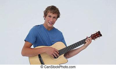 sien, acoustique, tenue, homme souriant, guitare