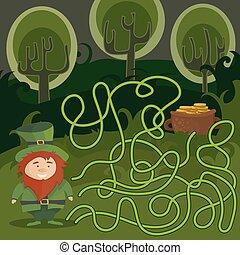 sien, aide, pot, gold., jeu, rouges, manière, labyrinthe, lutin, trouver, kids.