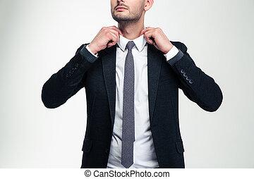 sien, ajustement, jeune, confiant, séduisant, homme affaires, collier
