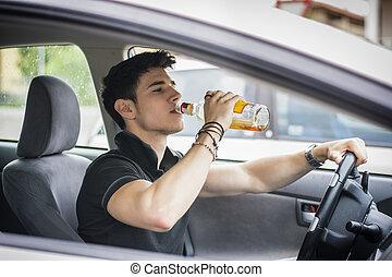 sien, alcool, conduite, voiture, jeune, quoique, boire,...