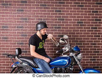 sien, alcool, séance, jeune, vélo, boire, homme