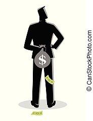 sien, argent, dos, sac, derrière, dissimulation, homme