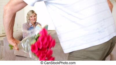 sien, associé, surprenant, homme, bouquet