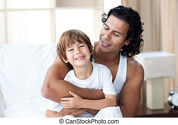 sien, attentif, avoir, père, fils, lit, amusement, séance