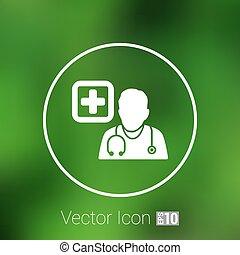 sien, autour de, docteur, stéthoscope, icône, cou