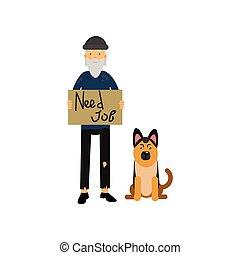 sien, avoir besoin, chien, illustration, métier, vecteur, sdf, dessin animé, homme