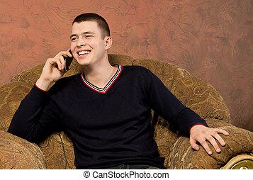 sien, bavarder, mobile, jeune, téléphone, homme, heureux