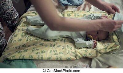 sien, bed., charmer, bouche, tétines, bébé, mensonge
