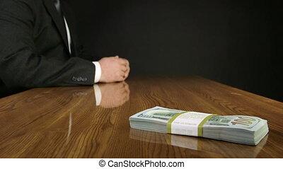 sien, bureau affaires, argent, portées, main, paquet, bureau, dehors, homme