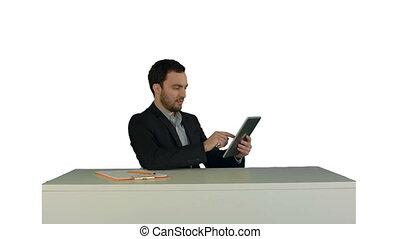 sien, bureau, business, tablette, isolé, fonctionnement, fond, numérique, table, blanc, homme