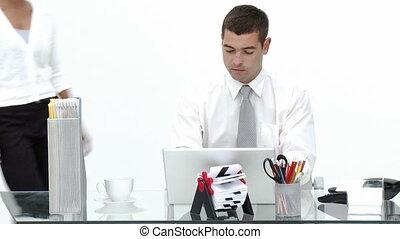 sien, bureau, fonctionnement, femme affaires, conversation, homme affaires