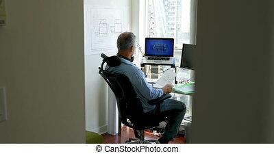 sien, bureau, fonctionnement, homme, 4k