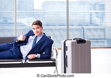 sien, business, attente, cla, aéroport, avion, homme...