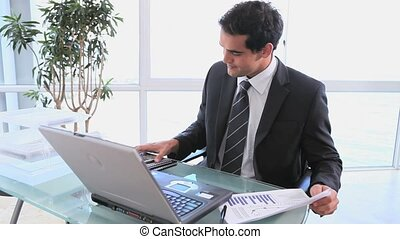 sien, business, calculatrice, tableur, usages, chèque, homme