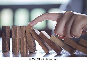 sien, business, effet domino, crise, finger., arrêt, homme affaires, concept.