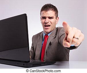 sien, business, ordinateur portable, jeune, points, vous, homme