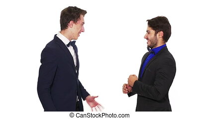 sien, business, poignée de main, refuses, associé, homme