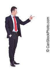 sien, business, pointage, jeune homme, côté, beau