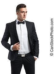 sien, business, redresse, veste, complet, homme