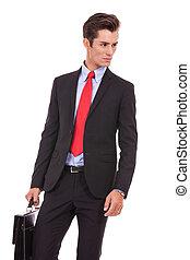 sien, business, regarder, sérieux, côté, homme