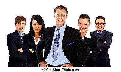 sien, business, sur, isolé, fond, équipe, blanc, homme