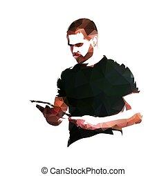 sien, business, tablette, illustration, polygonal, vecteur, tenant mains, homme