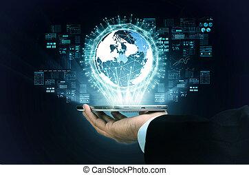 sien, calculer, processus, grand, projection, main, internet, homme affaires, données