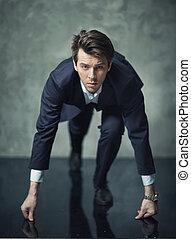 sien, carrière, photo, jeune, conceptuel, homme affaires, commencer