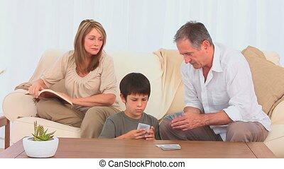 sien, cartes, petit-fils, père, grandiose, jouer