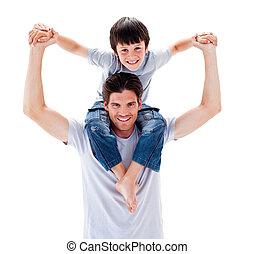 sien, cavalcade, père, donner, fils, charismatic, ferroutage