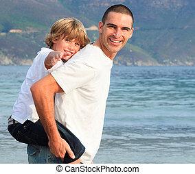 sien, cavalcade, père, donner, fils, ferroutage, plage
