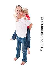 sien, cavalcade, sourire, père, donner, fils, ferroutage