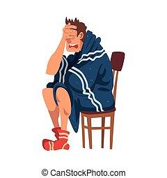 sien, chaise, illustration, face homme, chaussettes, type, dessin animé, tricoté, séance, grippe, porter, vecteur, main, couverture, malade, plaid, emballé