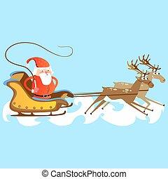 sien, chasser, veste, marier, renne, illustration, ruées, vecteur, santa, année, traîneau, nouveau, claus, barbe, chapeau, noël, rouges, heureux