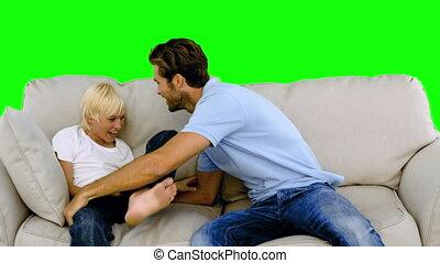 sien, chatouiller, sofa, père, fils