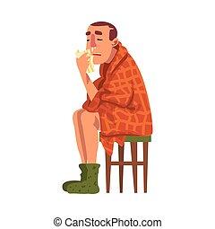 sien, chaussettes, type, tenue, porter, nez, dessin animé, tricoté, mouchoir, malade, plaid, chaise, séance, illustration, homme, liquide, grippe, vecteur, emballé