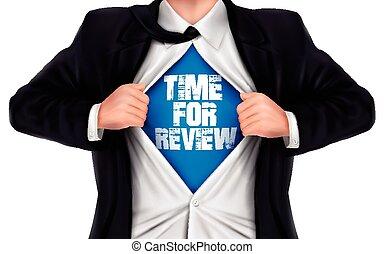 sien, chemise, projection, dessous, mots, temps, homme affaires, revue