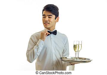 sien, chemise, serveur, ajuste, jeune, lunettes, charmer, tenue, cravate, blanc, main, plateau, arc, vin