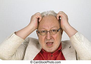 sien, chevelure, cheveux, blanc, déchirure, personne agee, lunettes