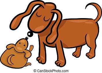 sien, chiot, chien, maman, dessin animé