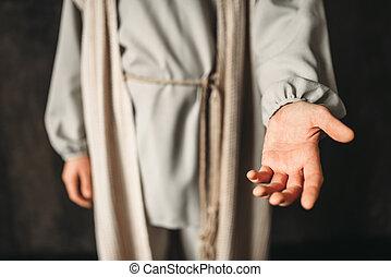 sien, christ, atteindre, image, main, homme, dehors