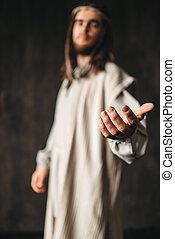sien, christ, atteindre, jésus, robe, main, blanc dehors