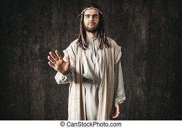 sien, christ, atteindre, main, symbole, paix, jésus, dehors