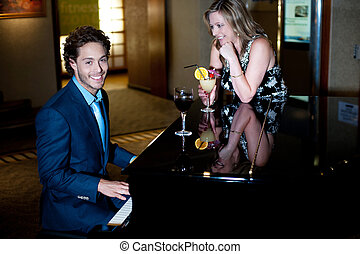 sien, cocktail, compagnon, piano, tenue, divertissement, jouer, homme