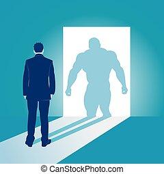 sien, concept, superhero, business, musculaire, vecteur, illustration, homme affaires, shadow.