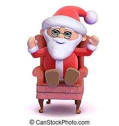 sien, confortable, santa, chaise, assied, 3d